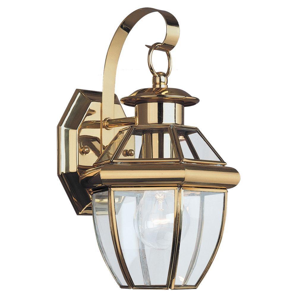 Lancaster Mini 1-Light Polished Brass Outdoor 12 in. Wall Mount Lantern