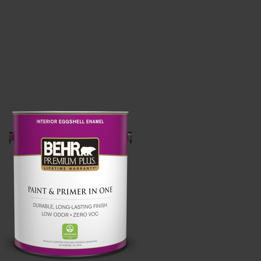 1 gal. Black Eggshell Enamel Zero VOC Interior Paint and Primer