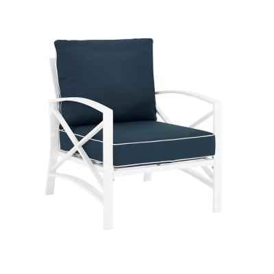 Kaplan White Metal Outdoor Lounge Chair with Navy Cushions
