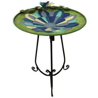 Beige Mosaic Birdbath with Black Metal Stand