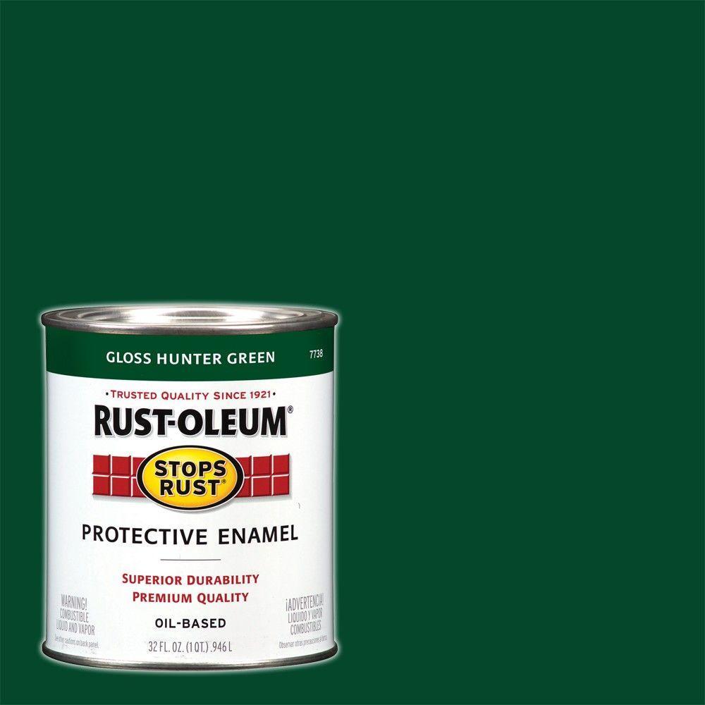 Rust-Oleum Stops Rust 1 qt. Protective Enamel Gloss Hunter Green Interior/Exterior Paint (2-Pack)