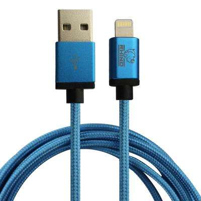 6.6 ft. Braided Nylon MFi Lightning Cable with Aluminum Alloy Connector Cable, Blue