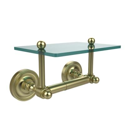 Prestige Regal Collection Double Post Toilet Paper Holder with Glass Shelf in Satin Brass