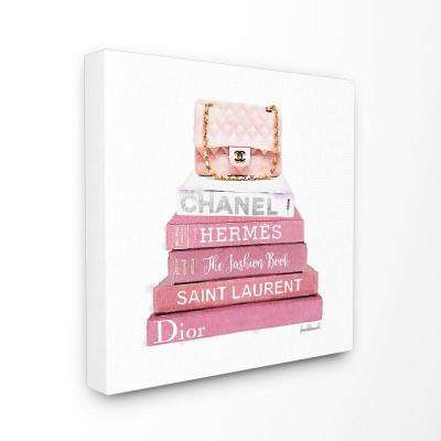 "30 in. x 30 in. ""Pink Book Stack Fashion Handbag"" by Amanda Greenwood Printed Canvas Wall Art"