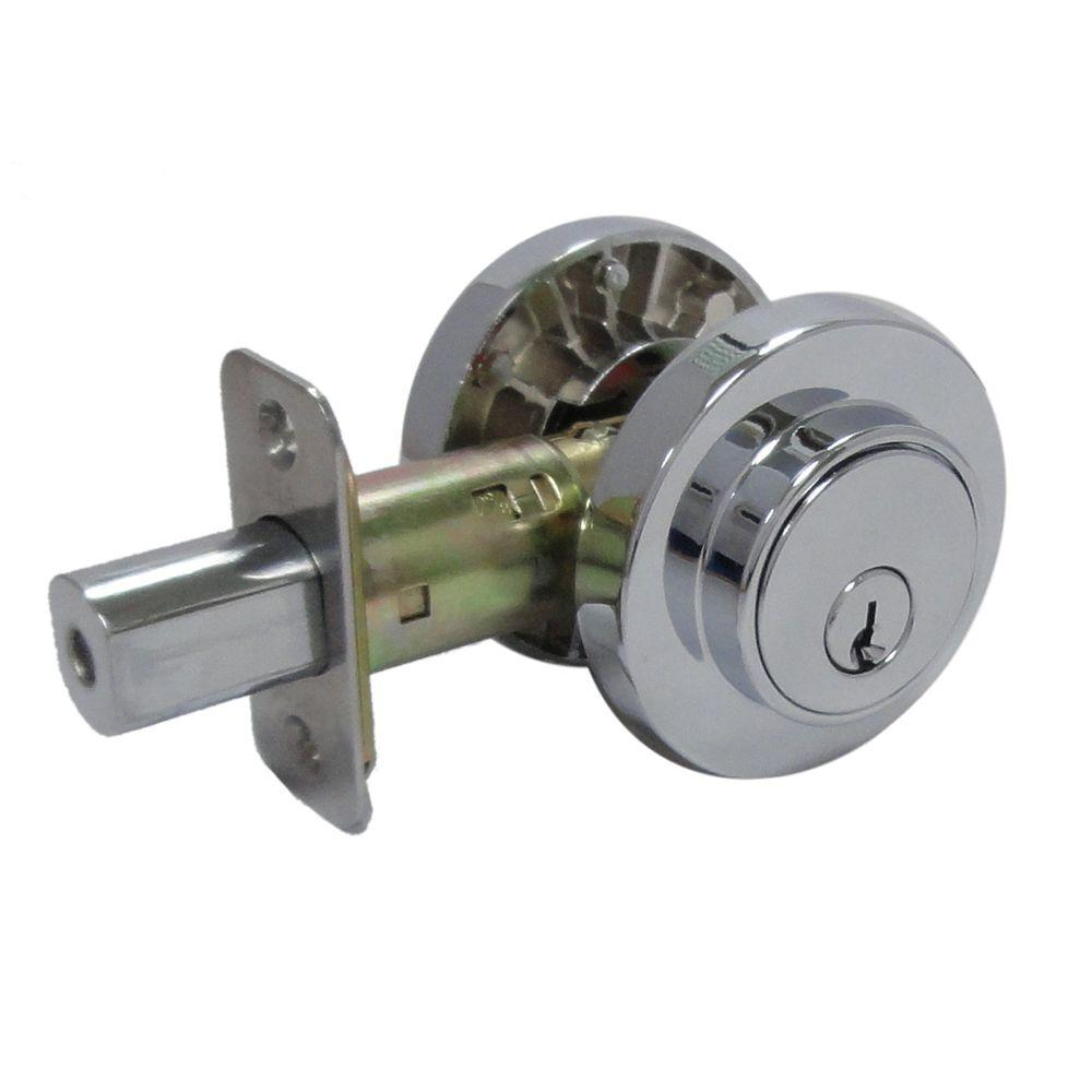 Faultless Double Cylinder Bright Chrome Round Contemporary Deadbolt