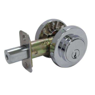 Double Cylinder Bright Chrome Round Contemporary Deadbolt