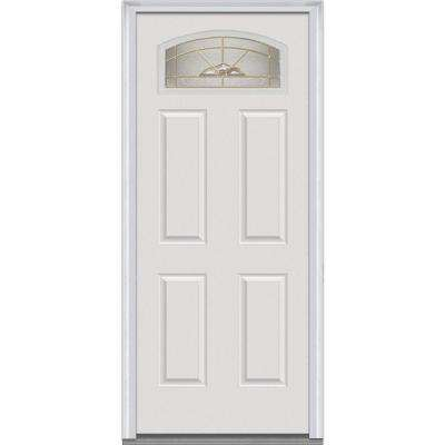 32 in. x 80 in. Master Nouveau Right-Hand 1/4 Lite 4-Panel Classic Primed Fiberglass Smooth Prehung Front Door