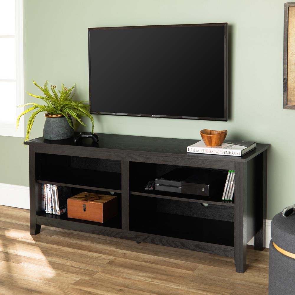 Walker Edison Furniture Company Essential Black Storage Entertainment Center