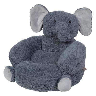 Gray Children's Plush Elephant Character Chair