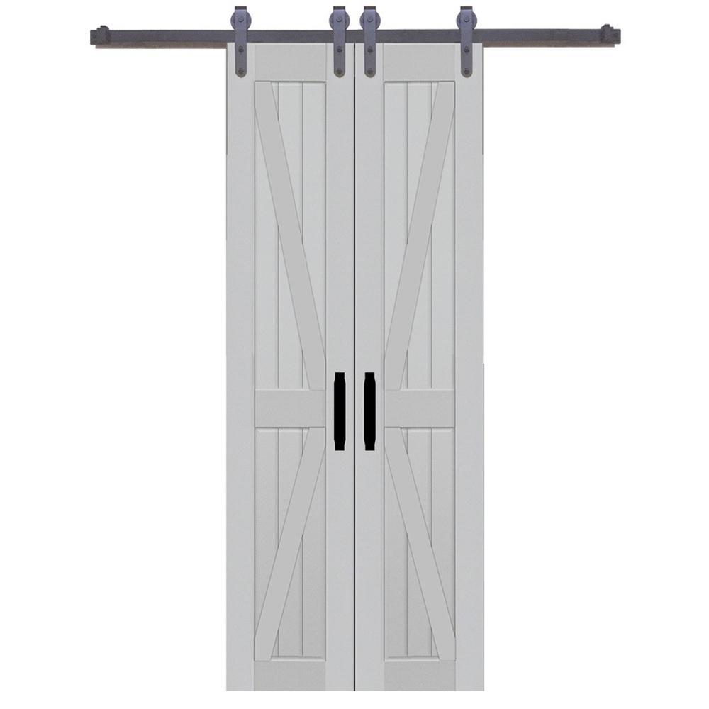 36 in. x 84 in. Board and Batten Composite PVC Silver Fox Split Barn Door with Sliding Door Hardware Kit