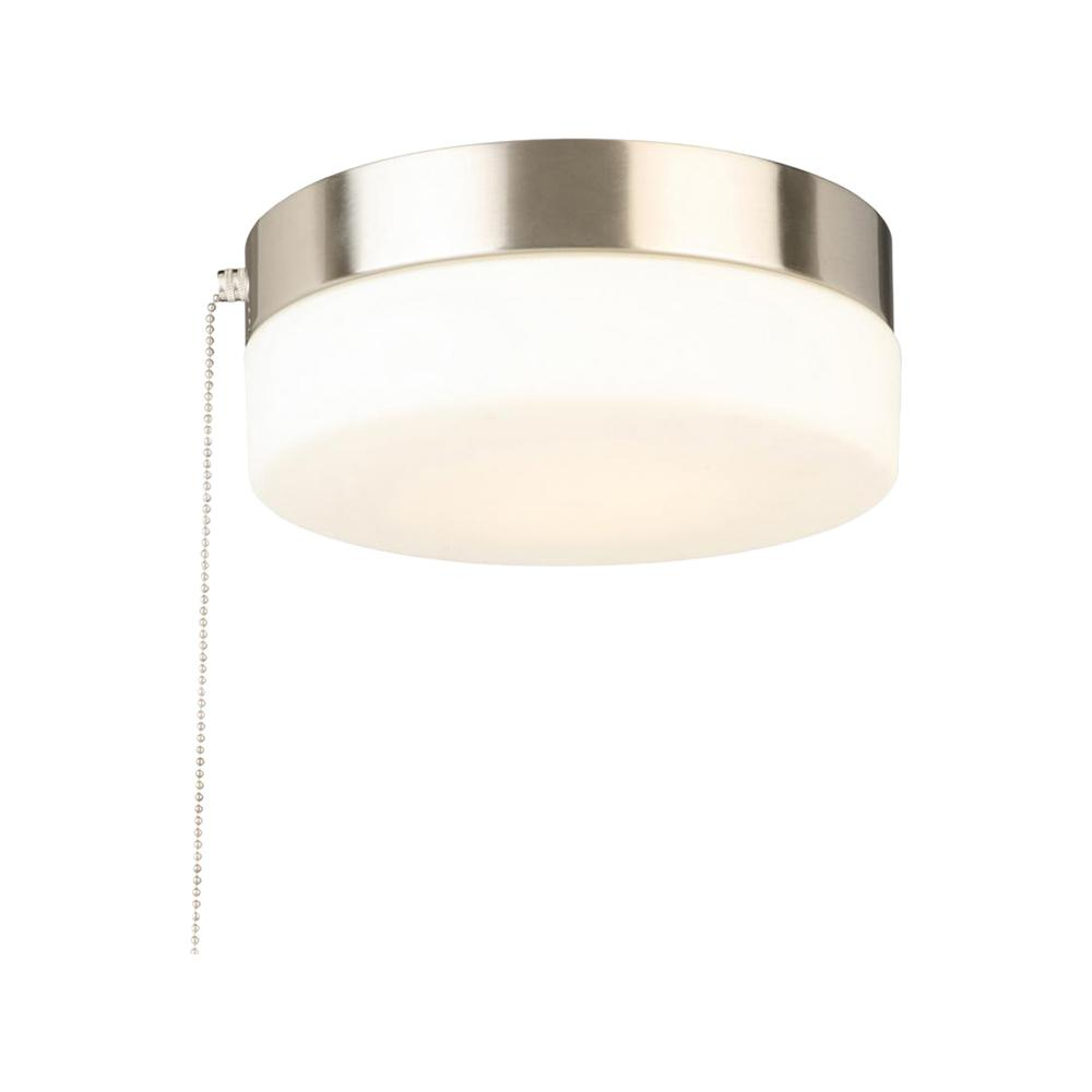 Hampton bay 8 in 60 watt equivalent brushed nickel integrated led drum flush mount with pull chain and glass shade