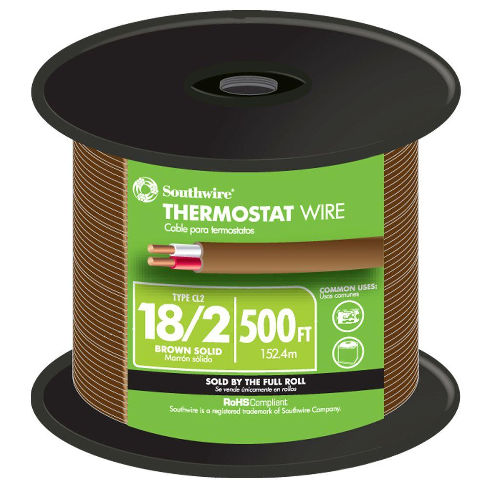 Southwire 500 ft. 18/2 Brown Solid CU CL2 Thermostat Wire
