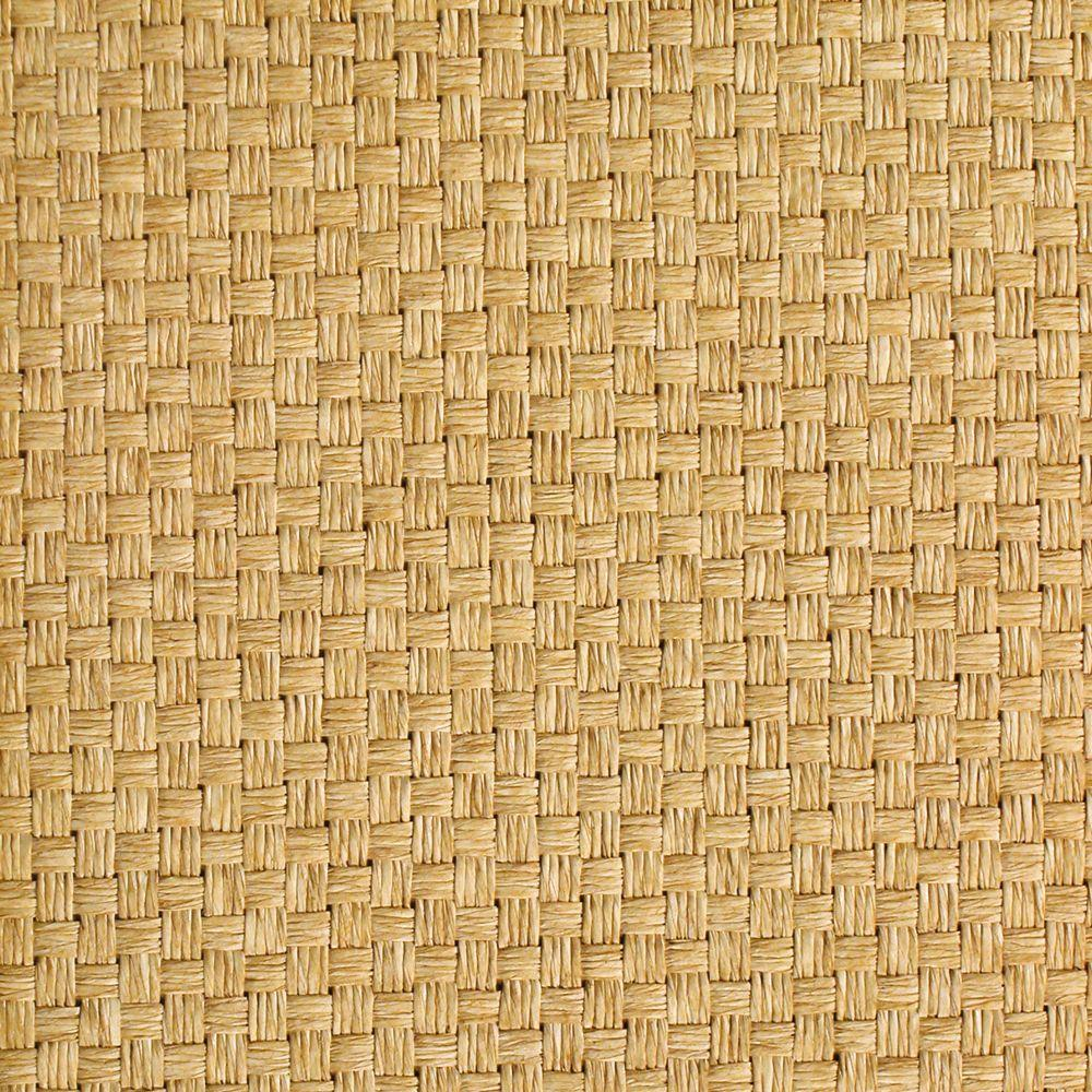 The Wallpaper Company 72 sq. ft. Tan Weave Grasscloth Wallpaper-DISCONTINUED