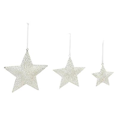 8 in. x 8 in. Metal Star Christmas Ornaments (3-Pack)