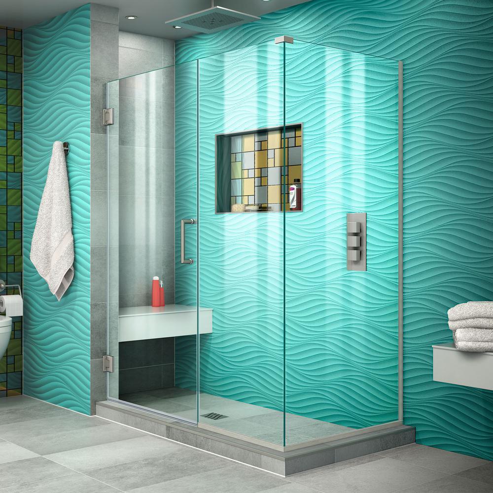 DreamLine Unidoor Plus 45 in. W x 34-3/8 in. D x 72 in. H Frameless Hinged Shower Enclosure in Brushed Nickel