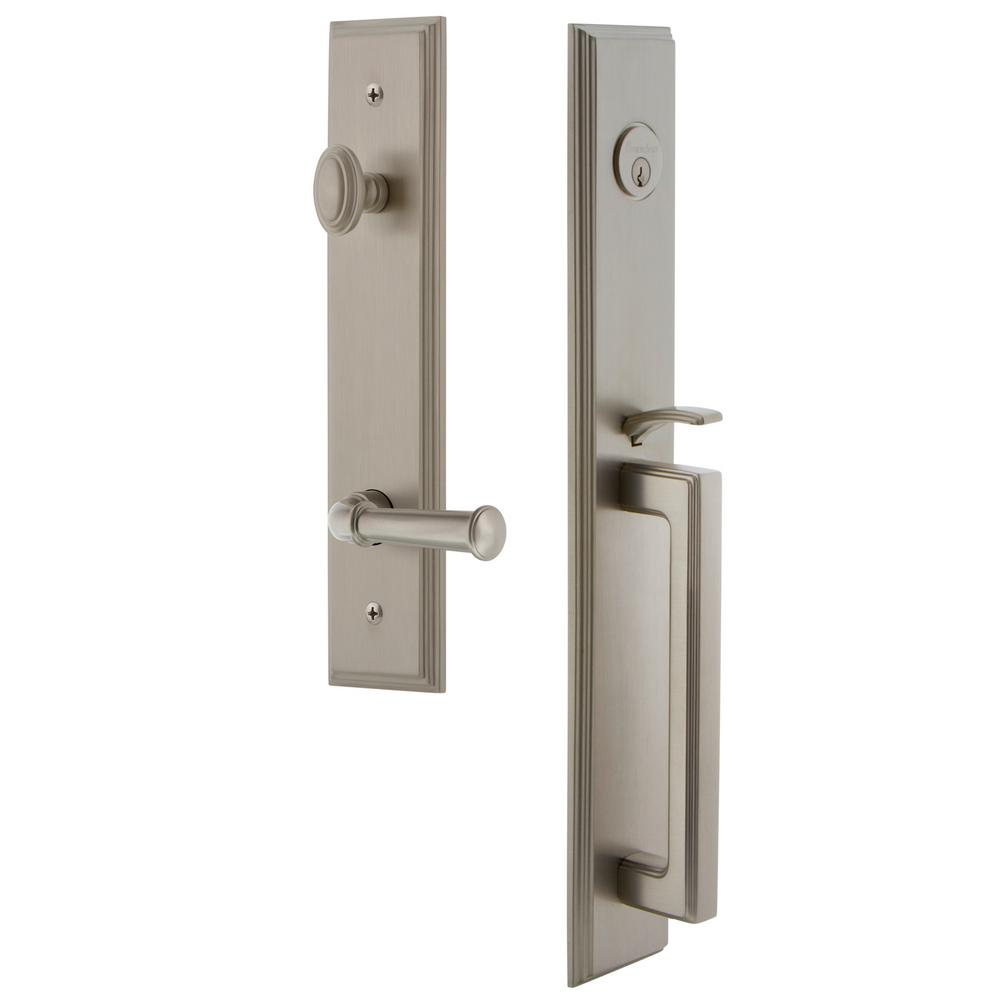 Grandeur Carre Satin Nickel 1-Piece Door Handleset with D Grip and Georgetown Lever