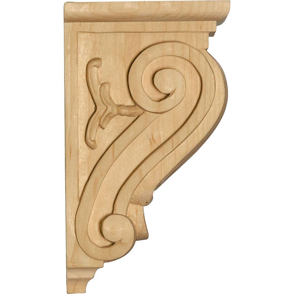Ekena Millwork CORW03X07X14RJMA-CASE-4 3 W x 7 1//2 D x 14 H Extra Large Rojas Wood Corbel Maple 4-Pack 3 1//2 W x 7 1//2 D x Ready to be Stained 4 Piece
