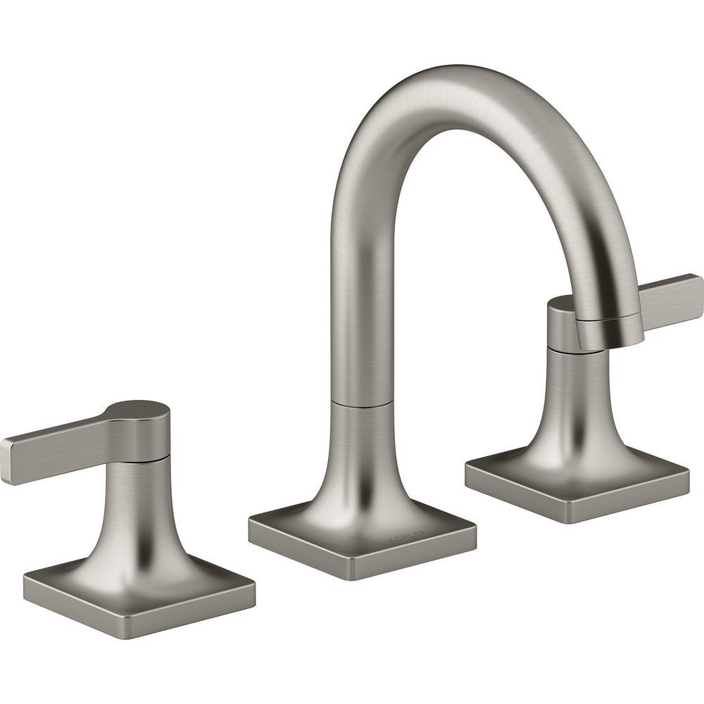 KOHLER Venza 8 in. Widespread 2-Handle Bathroom Faucet in Vibrant Brushed  Nickel