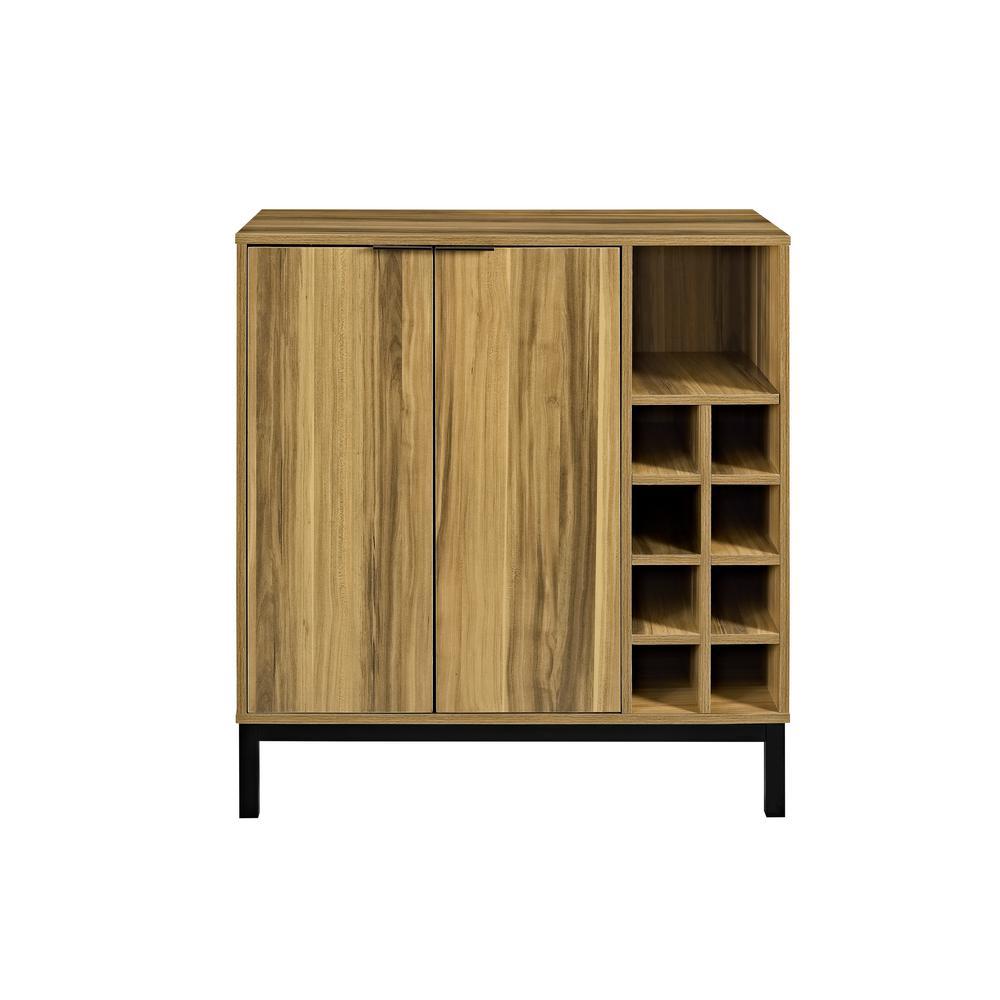 Walker Edison Furniture Company 15 Bottle Teak Bar Cabinet With Wine Storage