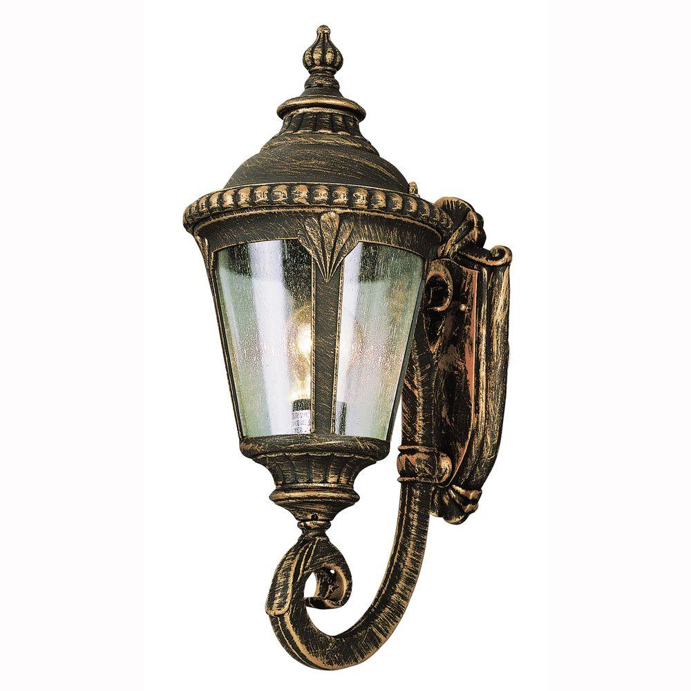 Bel Air Lighting Breeze Way 1-Light Black Copper Outdoor Coach Lantern with Seeded Glass
