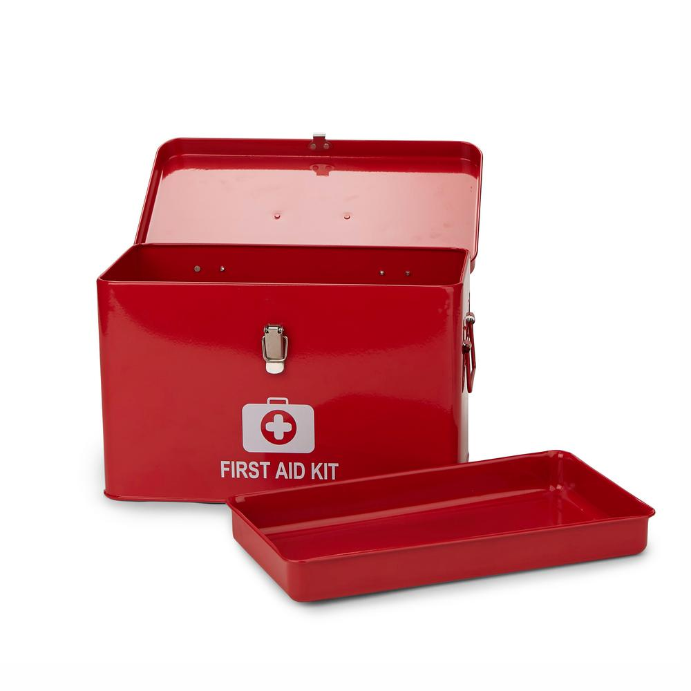 Mind Reader Household Emergency Large First Aid Kit Organizer Box  Detachable Tray with Top Handles in Red