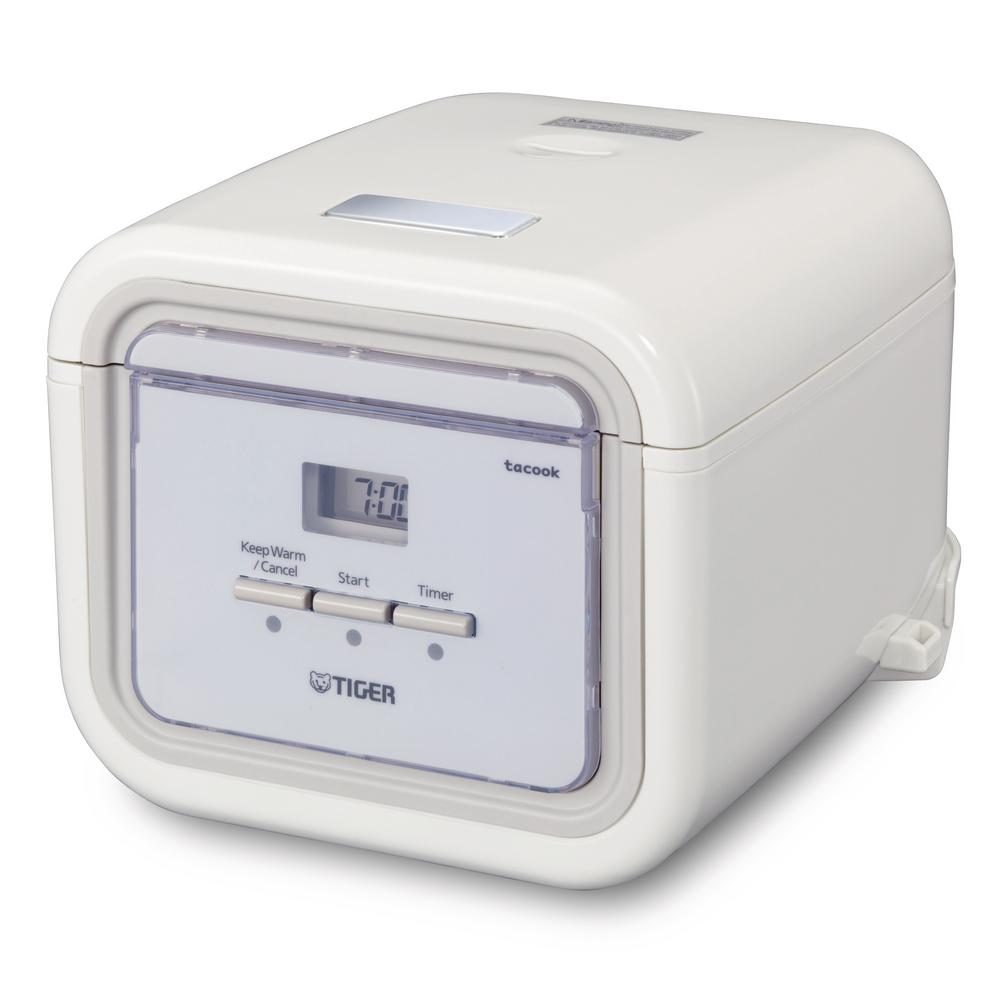 3-Cup White Micom Rice Cooker with Tacook Cooking Plate JAJ-A55U-WS rice cooker with its modern square design, will be a welcome addition to any kitchen. It is small enough to display on a counter, even in the smallest kitchens. Tiger rice cookers with the tacook cooking plate can cook two dishes simultaneously. Color: White.