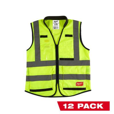 Premium Large/X-Large Yellow Class 2 High Visibility Safety Vest with 15 Pockets (12-Pack)