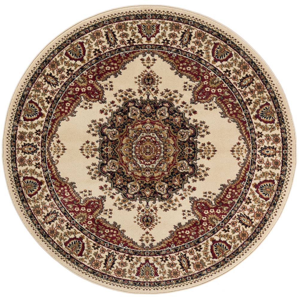 Tayse Rugs Sensation Beige 5 Ft 3 In Traditional Round