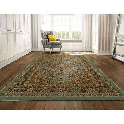 Ottohome Collection Persian Heriz Oriental Design Seafoam 8 ft. x 10 ft. Area Rug