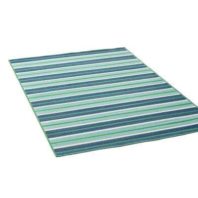 Ellis Blue and Green 5 ft. x 8 ft. Striped Indoor/Outdoor Area Rug