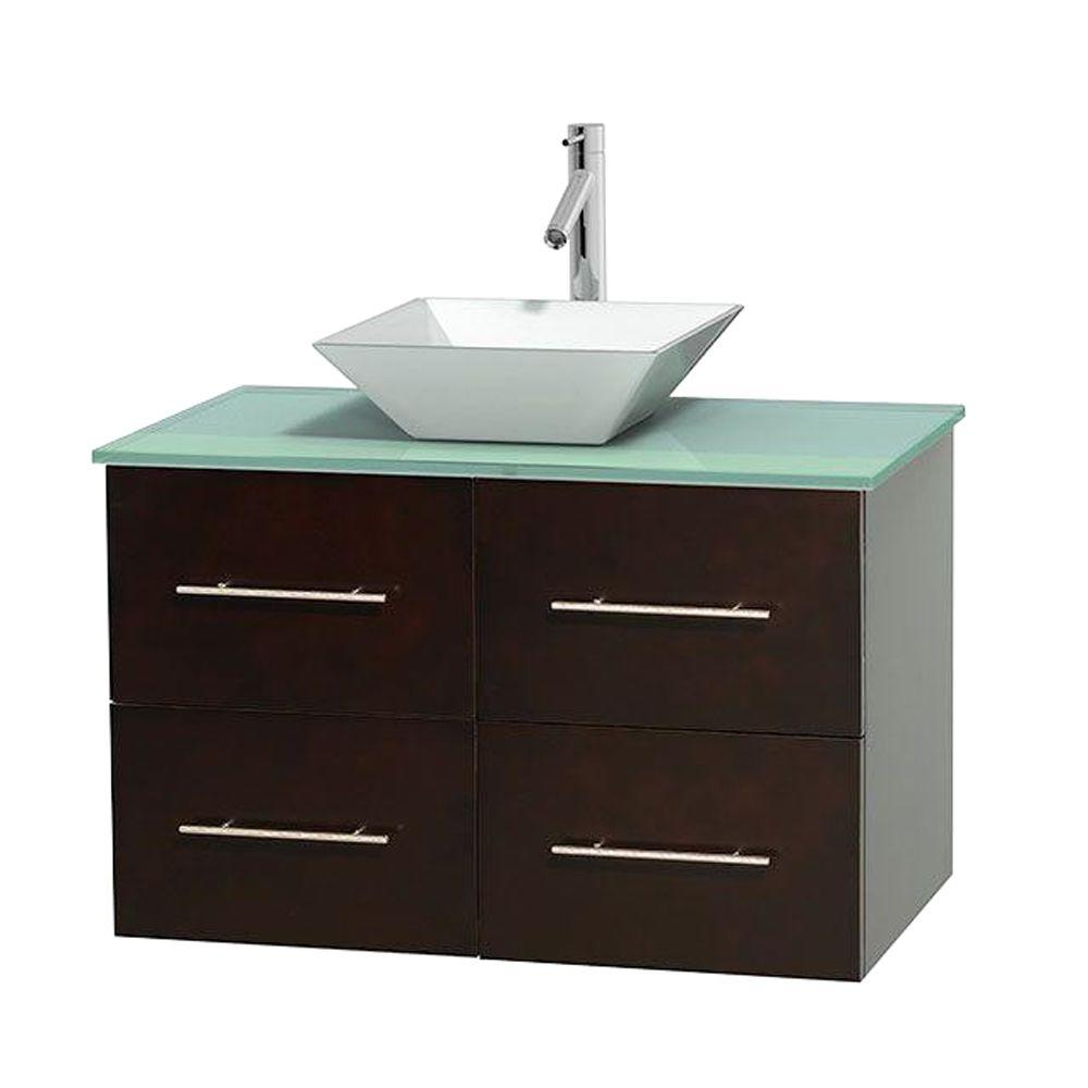 Centra 36 in. Vanity in Espresso with Glass Vanity Top in
