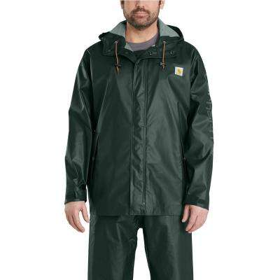 Men's Small Canopy Green Polyethylene/Polyester Waterproof Rain Storm Coat
