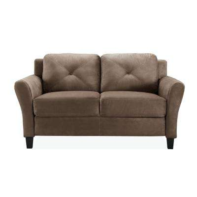 Harvard Microfiber Loveseat with Rolled Arm in Brown