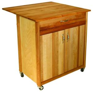 Catskill craftsmen natural kitchen cart with butcher block top 51533 the home depot - Home depot butcher block wood ...