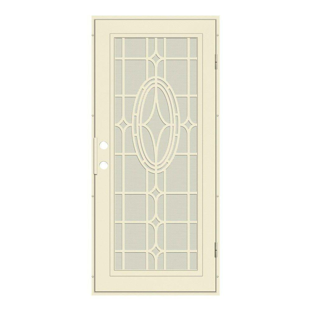 Unique Home Designs 36 in. x 80 in. Modern Cross Beige Right-Hand Surface Mount Aluminum Security Door with Beige Perforated Screen