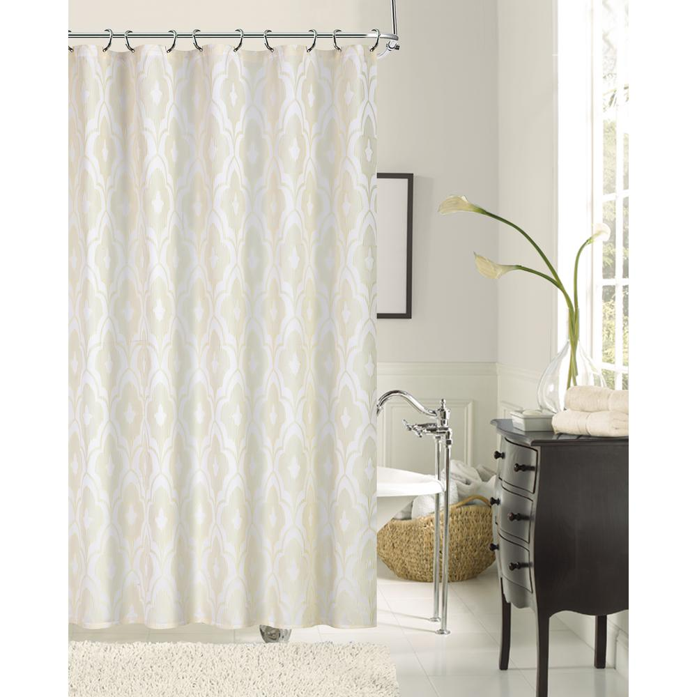 Gramercy Park 72 in. Ivory Shrink Yarn Fabric Shower Curtain