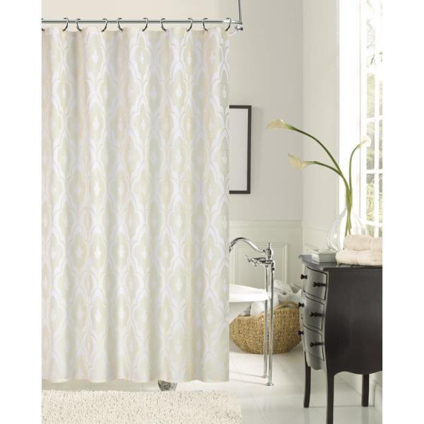 Dainty Home Gramercy Park 72 in. Ivory Shrink Yarn Fabric Shower