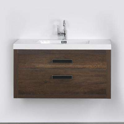 39.4 in. W x 19.5 in. H Bath Vanity in Brown with Resin Vanity Top in White with White Basin