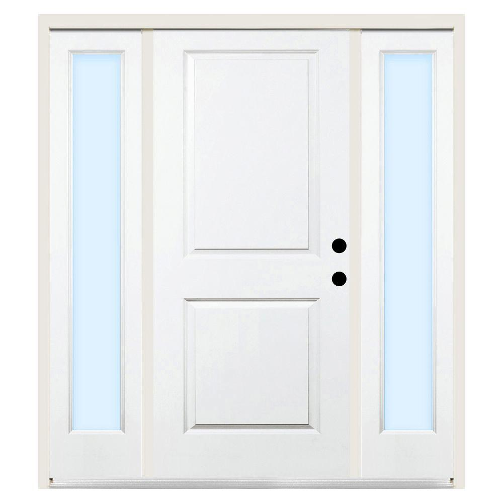 Steves & Sons 64 in. x 80 in. Premium 2-Panel Square Primed White Steel Prehung Front Door with Clear Glass Sidelites