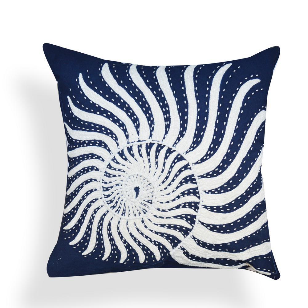 A1HC Ava Indigo 20 in. x 20 in. Shell 100% Cotton Throw Pillow