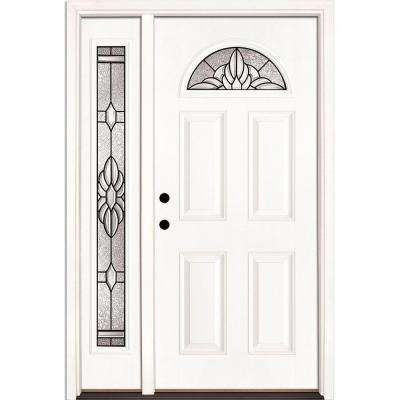 50.5 in. x 81.625 in. Sapphire Patina Fan Lite Unfinished Smooth Right-Hand Fiberglass Prehung Front Door with Sidelite