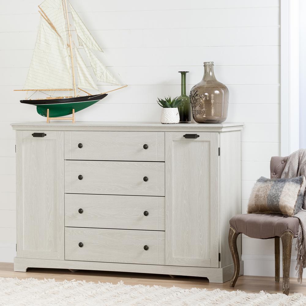 South Shore Avilla 4-Drawer Winter Oak Dresser 10244