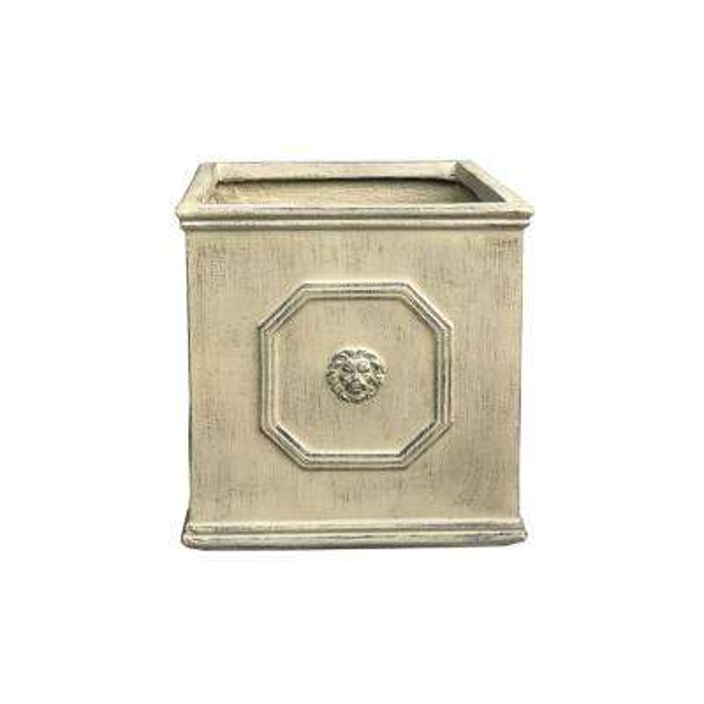 12.6 in. Brownstone Lightweight Concrete Lion Head Square Medium Planter