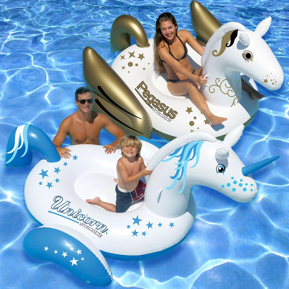 Swimline Giant Ride-On Pegasus and Ride-On Unicorn Swimming Pool Float  Combo (2-Pack)
