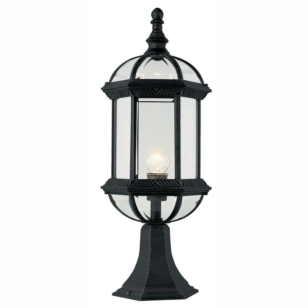 Bel Air Lighting Atrium 1 Light Outdoor Black Post Top Lantern With Clear Gl