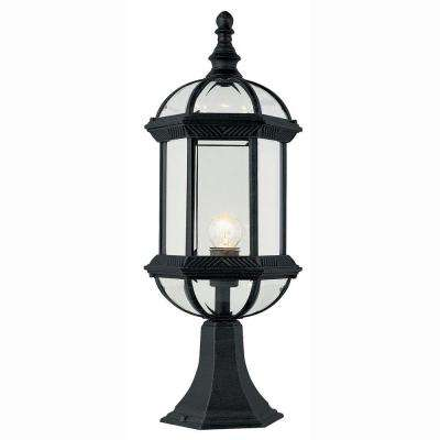 Atrium 1-Light Outdoor Black Post Top Lantern with Clear Glass