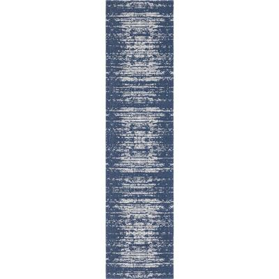 Unique Loom Decatur Static Navy Blue 2 ft. 2 in. x 7 ft. 4 in. Runner Rug