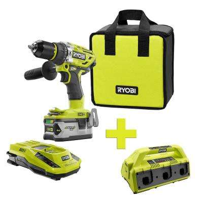 18-Volt ONE+ Lithium-Ion Cordless Brushless Hammer Drill/Driver, 4Ah Batt and Charger w/Bonus 6-Port Supercharger