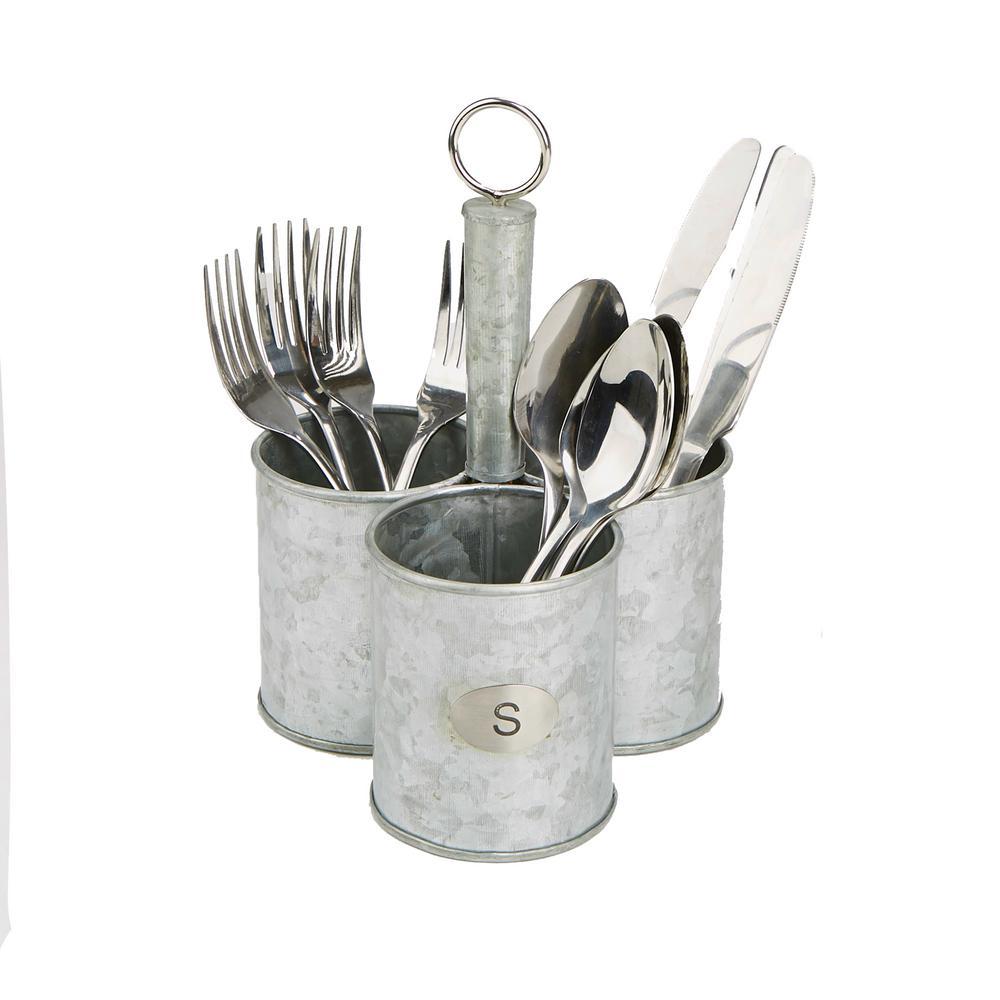 Silver Metal 3 Cup Utensils Caddy Cutlery Holder Flatware and Silverware Organizer