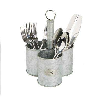 Silver Metal 3 Cup Utensils Caddy Cutlery Holder Flatware and Silverware Organizer